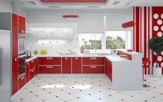 Красные детали современных кухонь